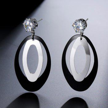 Rhinestone Layered Oval Earrings - SILVER