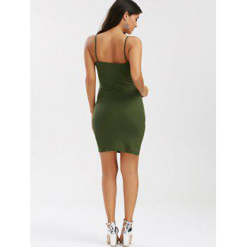 Slit Slim Fit Ribbed Knit Slip Dress - Vert Armée S