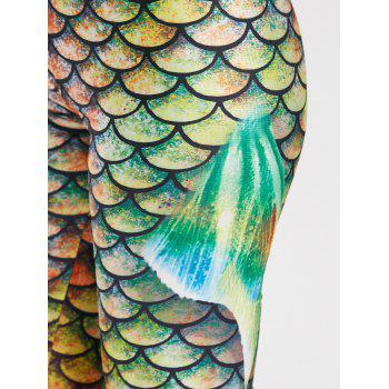 Elastic Waist Scale Print Mermaid Leggings - GREEN GREEN
