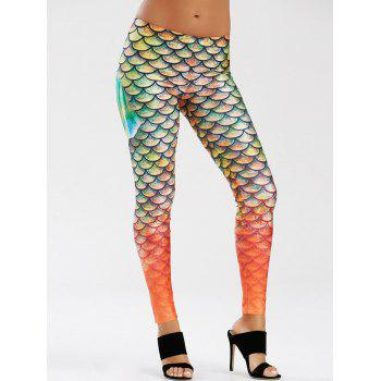 Elastic Waist Scale Print Mermaid Leggings - GREEN L