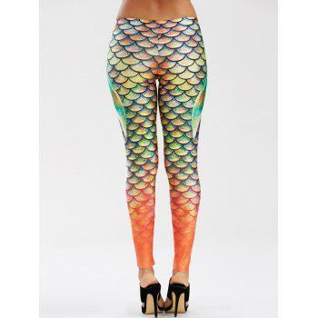 Elastic Waist Scale Print Mermaid Leggings - GREEN M