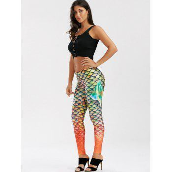 Elastic Waist Scale Print Mermaid Leggings - S S