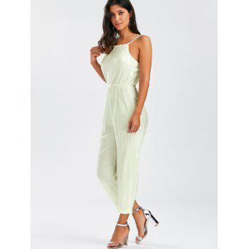 Open Back Cami Pleated Jumpsuit - OFF WHITE XL