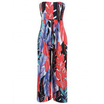 Strapless Leaf Print Shirred Jumpsuit
