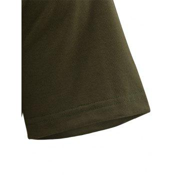 Pocket Zip Curved Hem Tall T-Shirt - GREEN XL