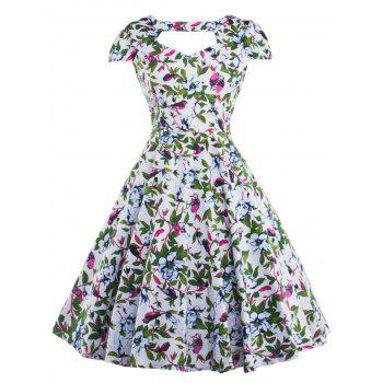 Cut Out Allover Print Vintage Choker Dress