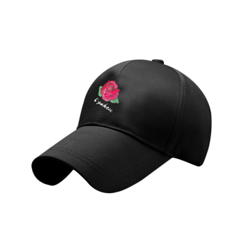 Rose Embroidered Baseball Hat with Bowknot Tail