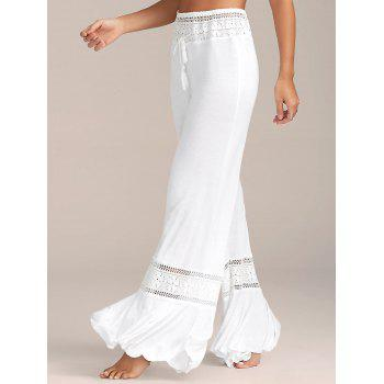 High Waisted Lace Panel Palazzo Pants - WHITE WHITE