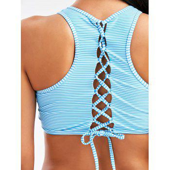 High Neck Stripe Lace Up Bikini - XL XL
