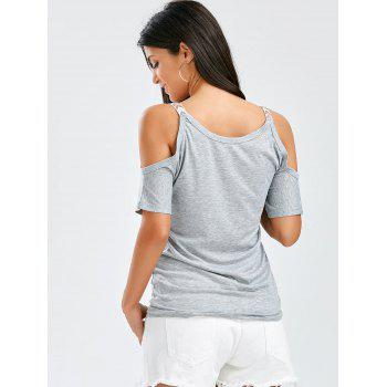 Cold Shoulder V Neck Tee - GRAY L