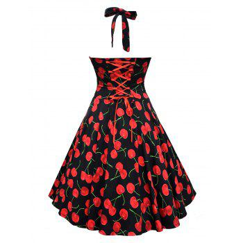 Vintage Halter Cherry Print Lace Up Dress - Noir S