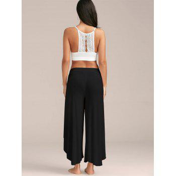 High Slit Flowy Layered Palazzo Pants - BLACK M