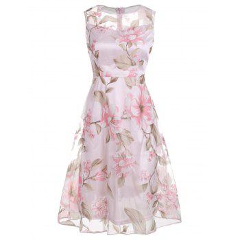 Sleeveless Floral Printed Midi Dress - PINK PINK