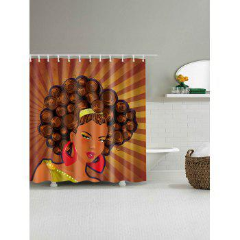 Unique Afro Girl Waterproof Fabric Shower Curtain - BROWN W71 INCH * L79 INCH