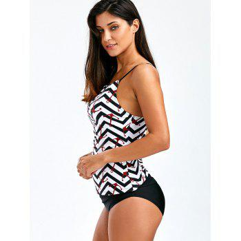 Anchor Print Keyhole Backless Tankini Swimsuits - BLACK XL