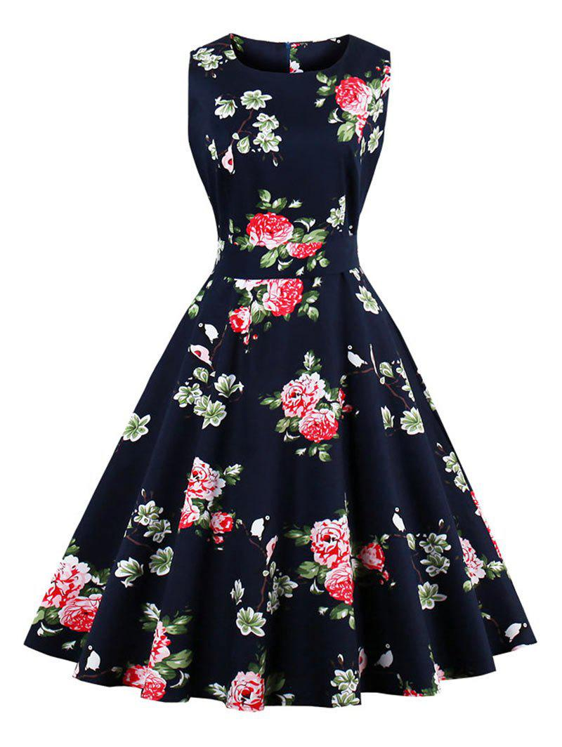 Vintage Floral Print Fit and Flare Dress sleeveless floral print fit and flare dress