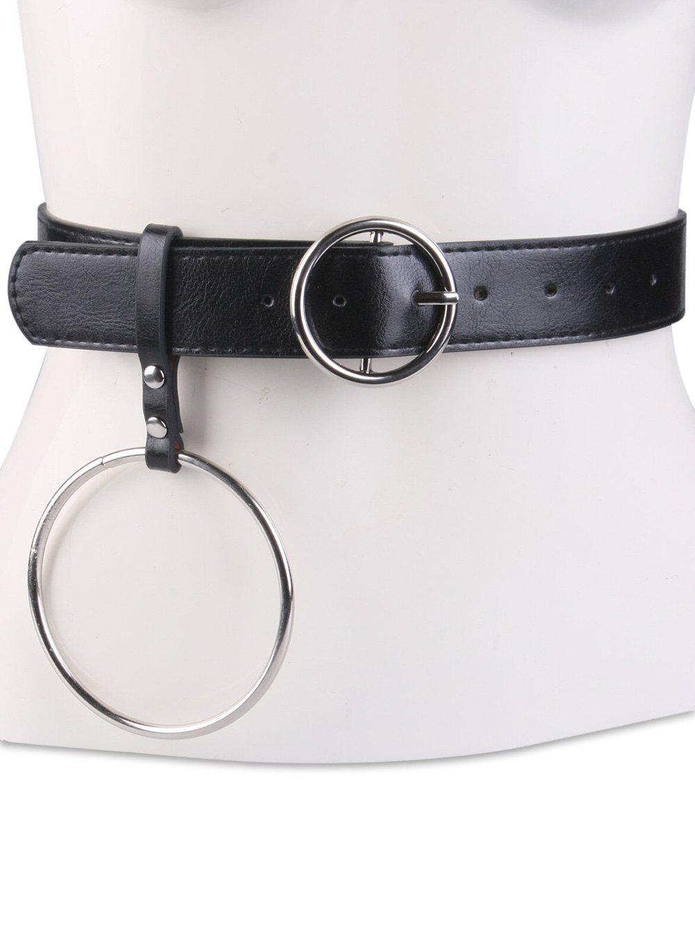 Metallic Round Pin Buckle Circle Belt, Black