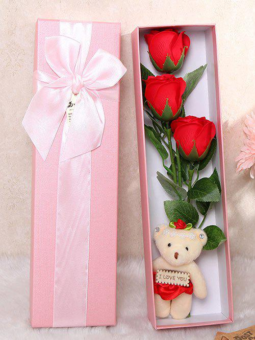 3 Pcs Handmade Rose Soap Artificial Flowers and Bear - BRIGHT RED
