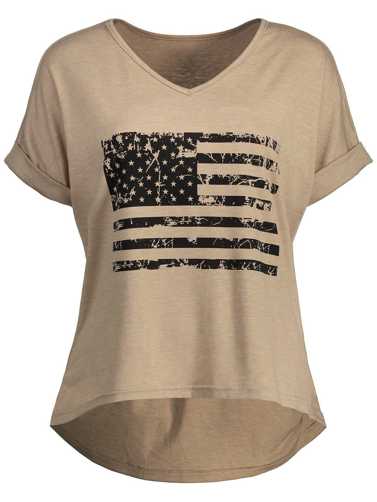 Patriotic American Flag Graphic High Low Tee - KHAKI XL