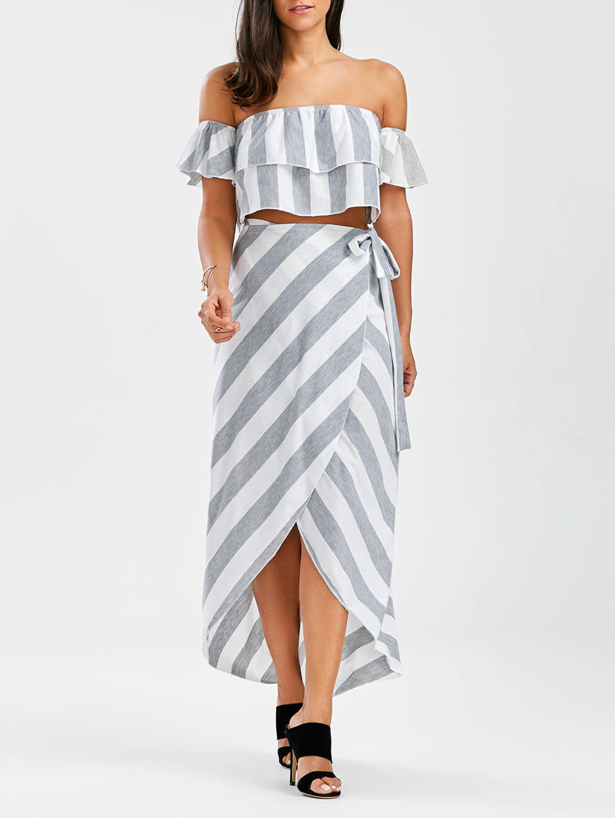 Off The Shoulder Flounce Top+Striped Wrap Skirts - GREY/WHITE L