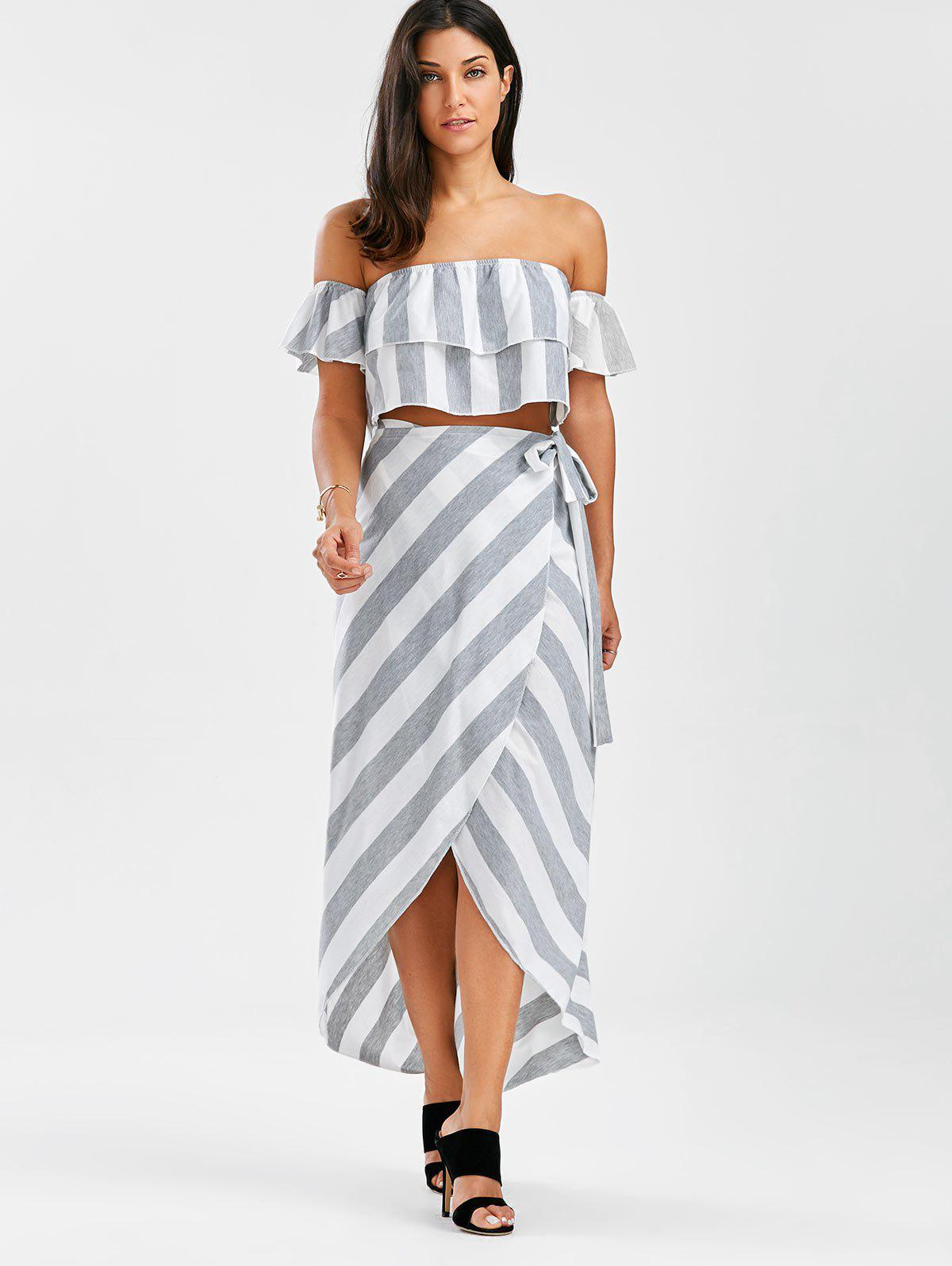 Off The Shoulder Flounce Top + Jupes à rayures - Gris et Blanc M