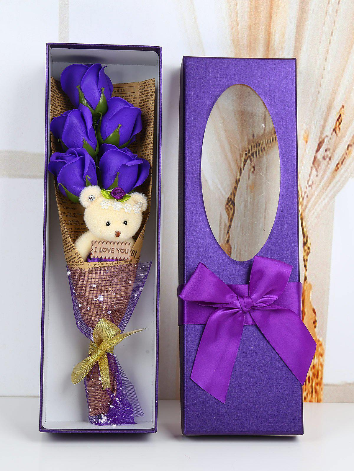 5 Pcs Handmade Soap Rose Artificial Flowers and Bear - PURPLE