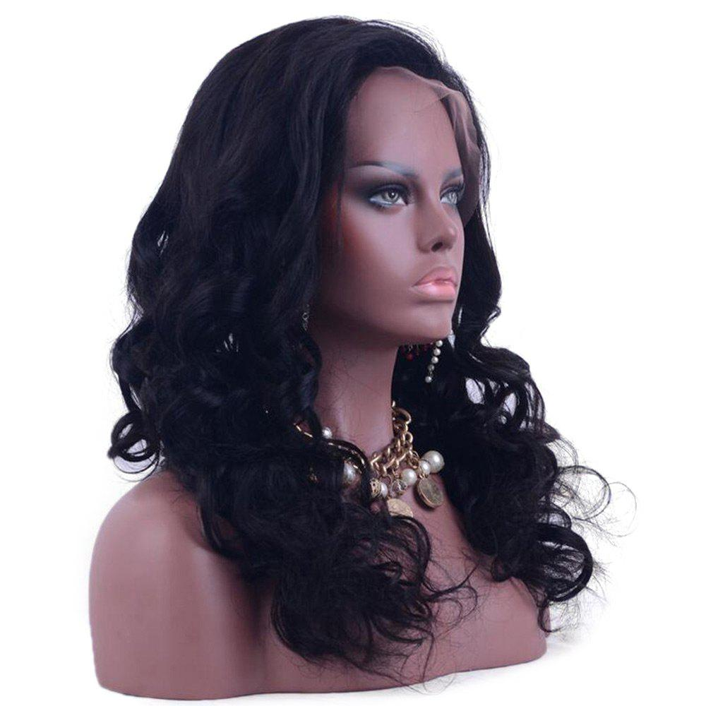 Long Lace Front Water Wave  Shaggy Human Hair Wig - BLACK 16INCH