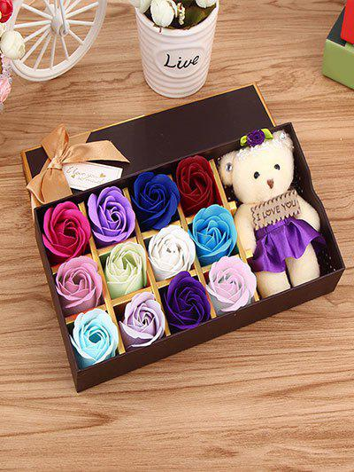 12 Pcs Ombre Rose Soap Artificial Flower and Bear - COLORMIX