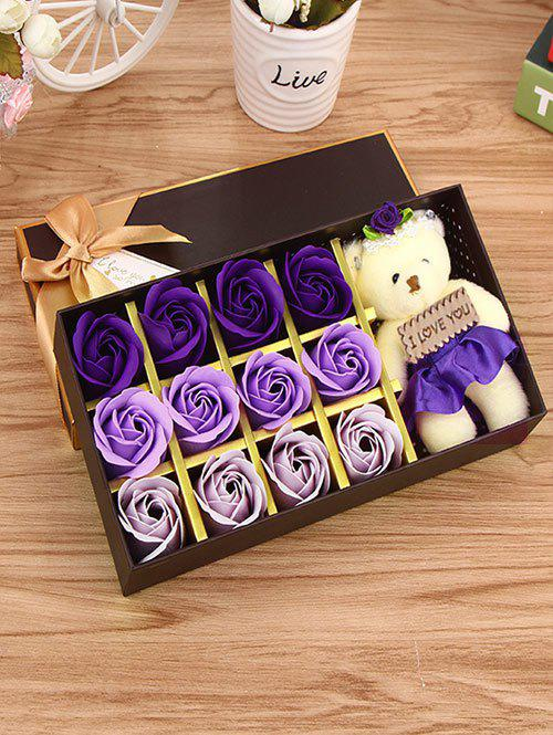 12 Pcs Ombre Rose Savon Artificial Flower and Bear - Graduel Violet