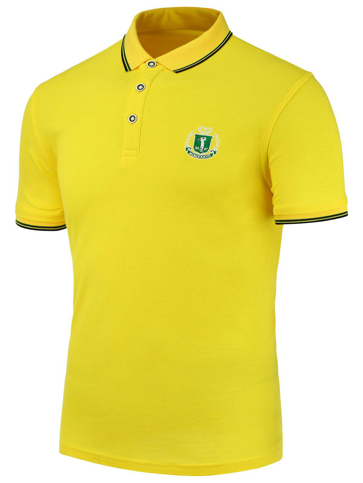 Turndown Collar Embroidered Embellish Polo Shirt - YELLOW 2XL
