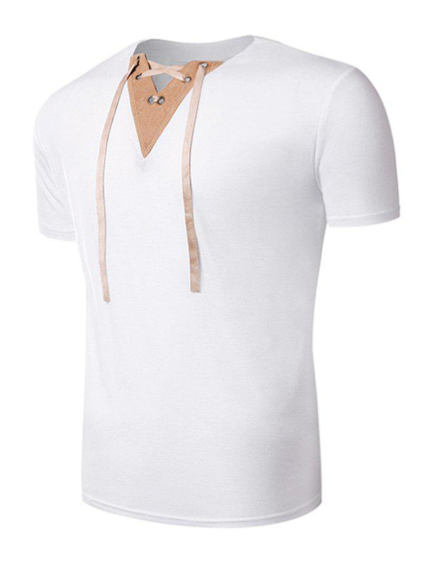 V Neck Lace Up Suede Panel T-Shirt - WHITE XL
