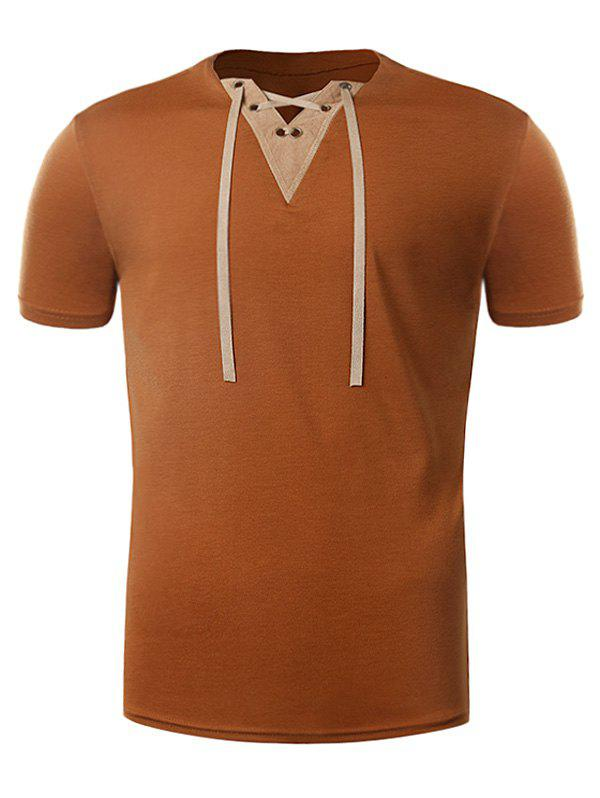 V Neck Lace Up Suede Panel T-Shirt - EARTHY XL