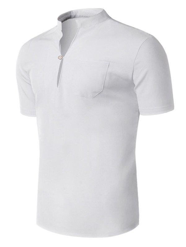Short Sleeve Half Button Design Shirt - WHITE XL