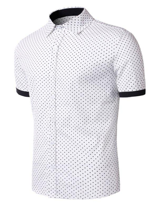 Polka Dot Print Short Sleeve Shirt - Blanc XL