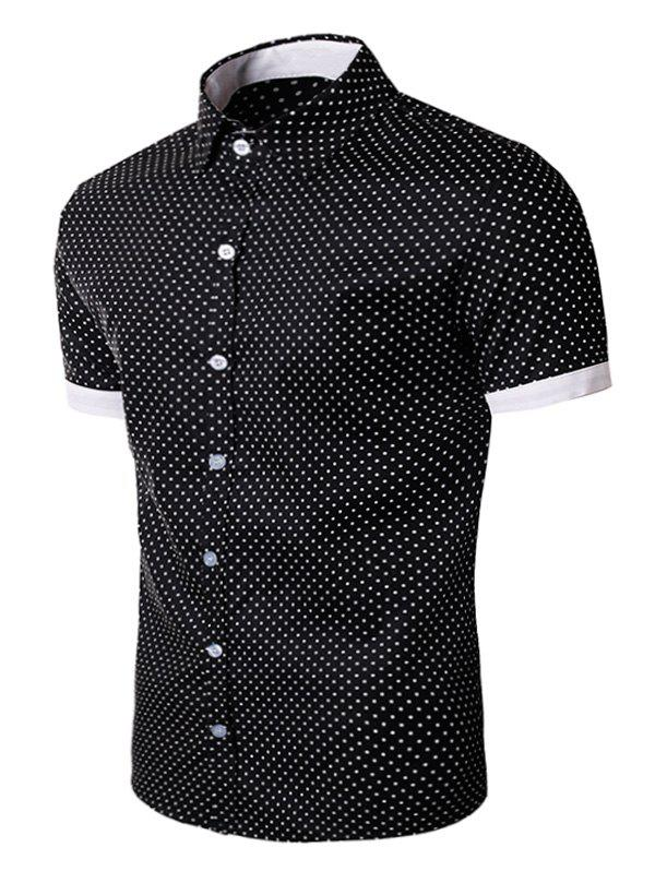 Polka Dot Print Short Sleeve Shirt - Noir L