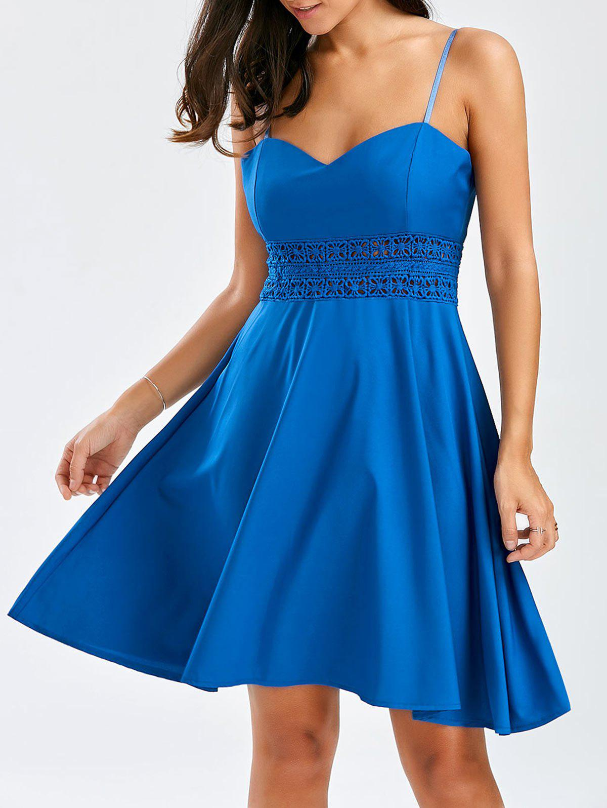A Line Mini Slip Dress - BLUE L