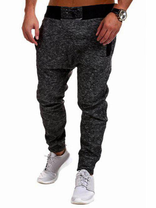 Two Tone Drawstring Joggers - DEEP GRAY L
