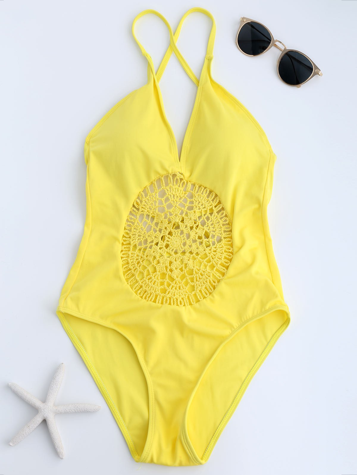 Crochet Insert Backless One Piece Swimsuit - YELLOW S