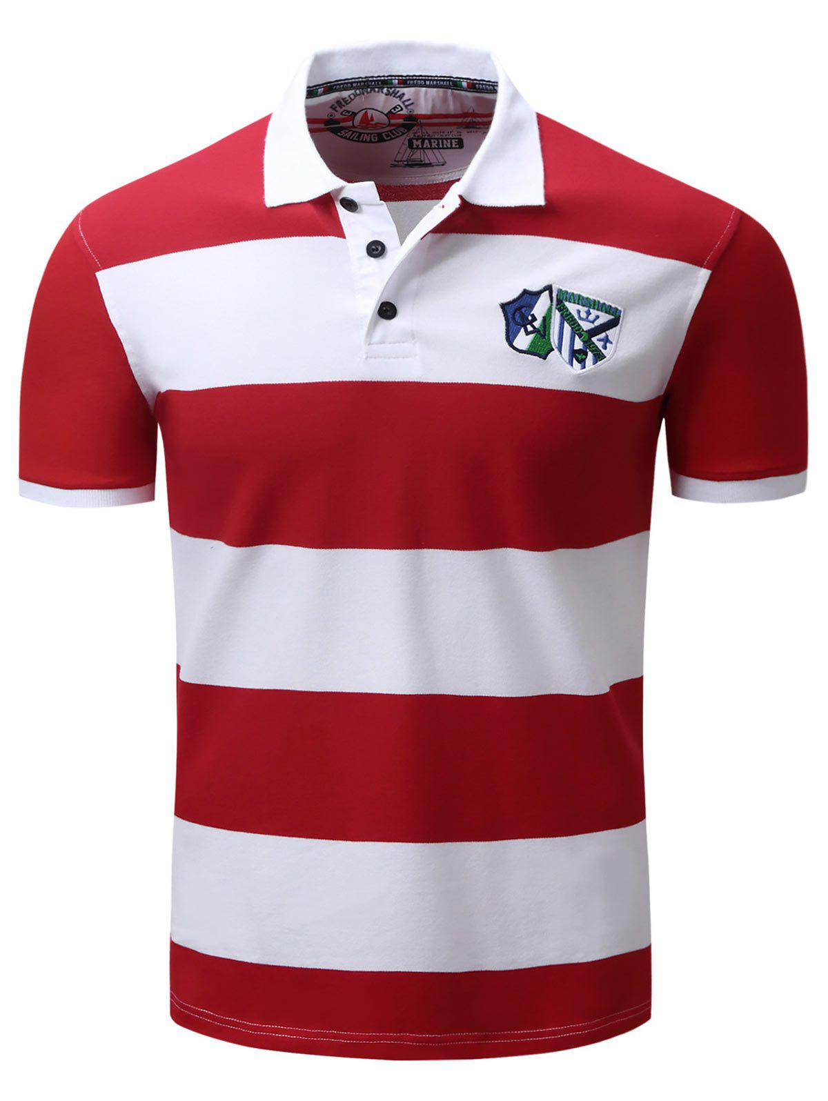 T shirt design red - Broad Stripe Design Badge Embroidered Polo T Shirt Red M