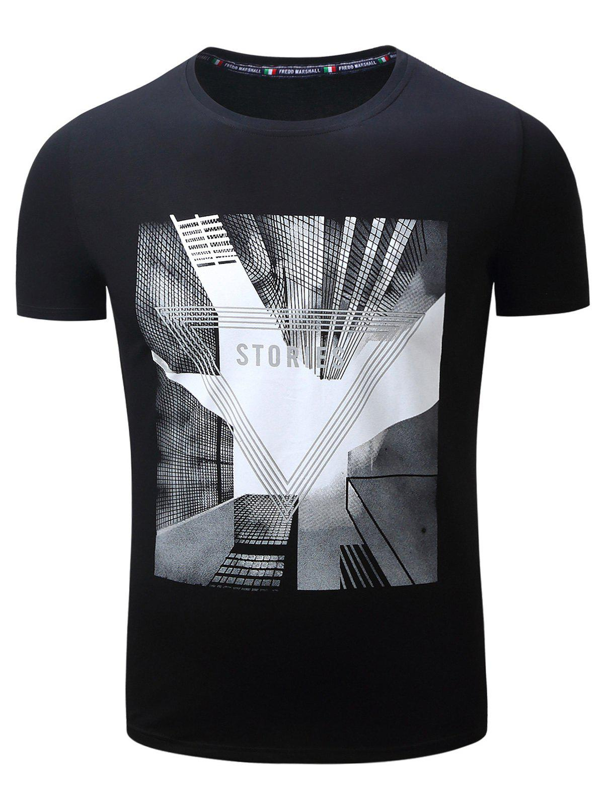 Highrise Graphic Geometric 3D Print T-Shirt - BLACK L