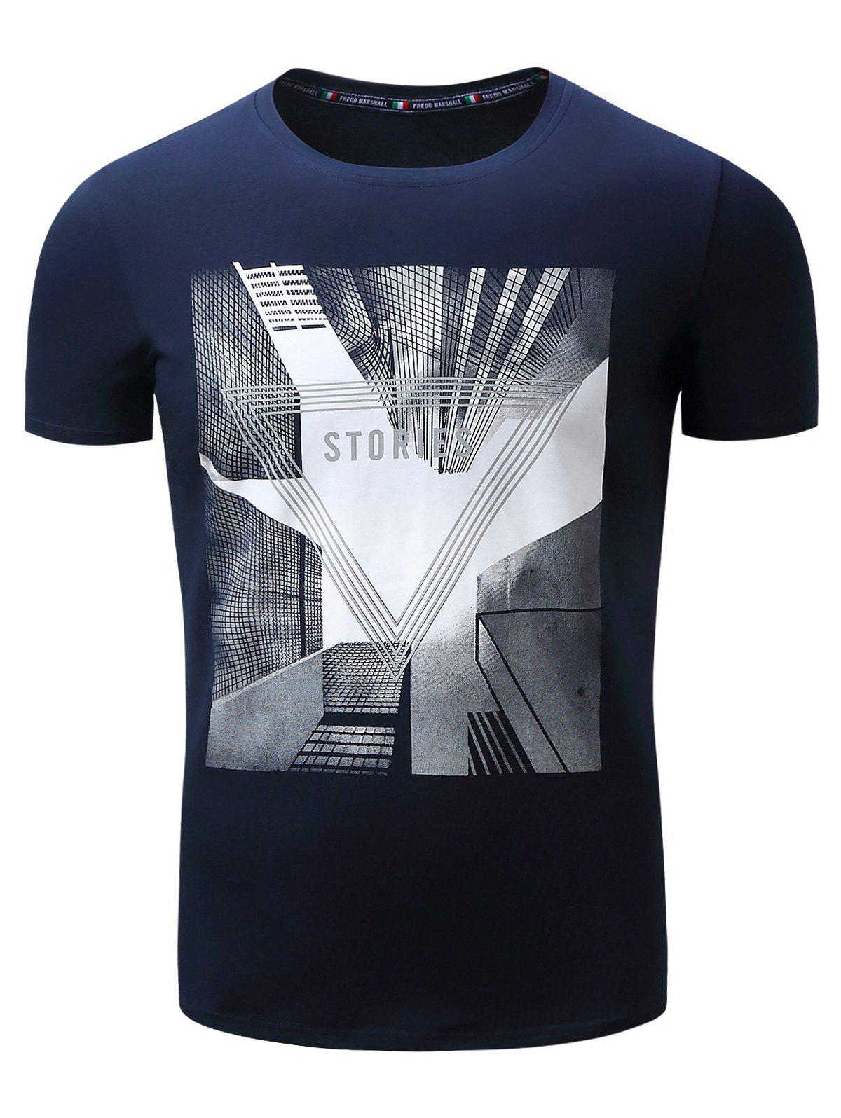 Highrise Graphic Geometric 3D Print T-Shirt - ROYAL M