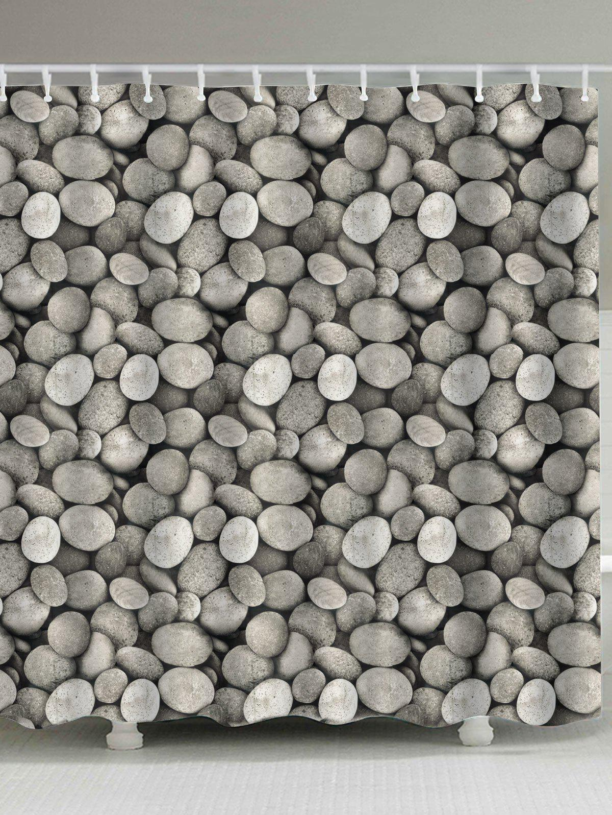 Polyester Fabric Cobblestone Print Shower Curtain - GRAY W71 INCH * L79 INCH