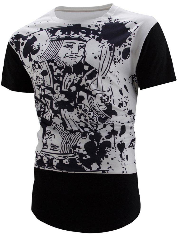Curved Hem Poker Print Longline T-Shirt - BLACK XL