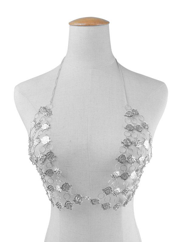 Rose Flower Triangle Bra Body Chain - SILVER