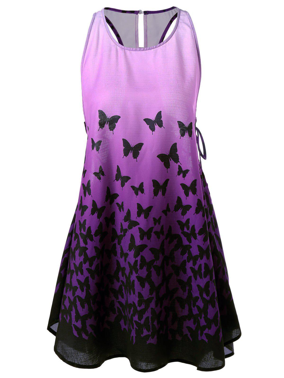 Ombre Butterfly Lace Up Racerback Tank Dress - PURPLE L