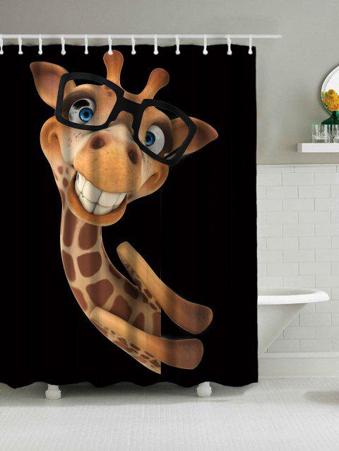 Wear Glasses Smile Giraffe Waterproof  Fabric Shower Curtain - BLACK W71 INCH * L71 INCH