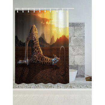 Giraffes Drink Water Water Resistant Fabric Shower Curtain