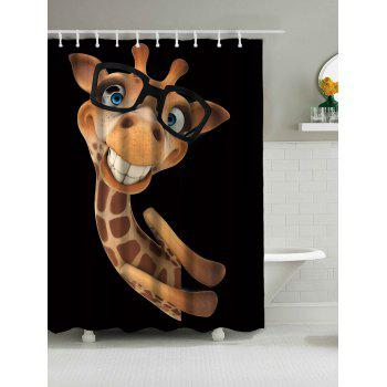 Wear Glasses Smile Giraffe Waterproof  Fabric Shower Curtain