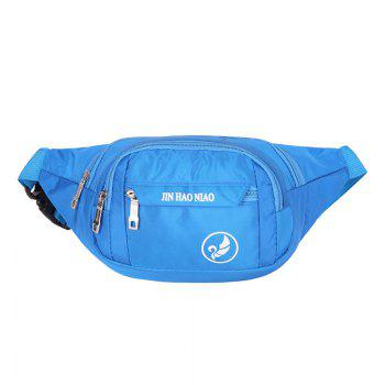 Letter Pattern Nylon Waterproof Waist Bag - BLUE BLUE