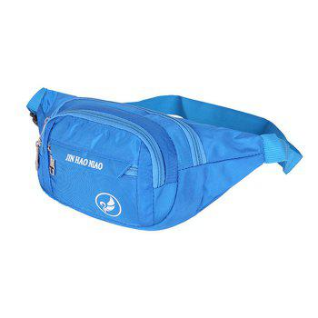 Letter Pattern Nylon Waterproof Waist Bag -  BLUE